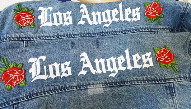 Fashion Custom Embroidery Patches Los Angeles La Denim Jacket Los